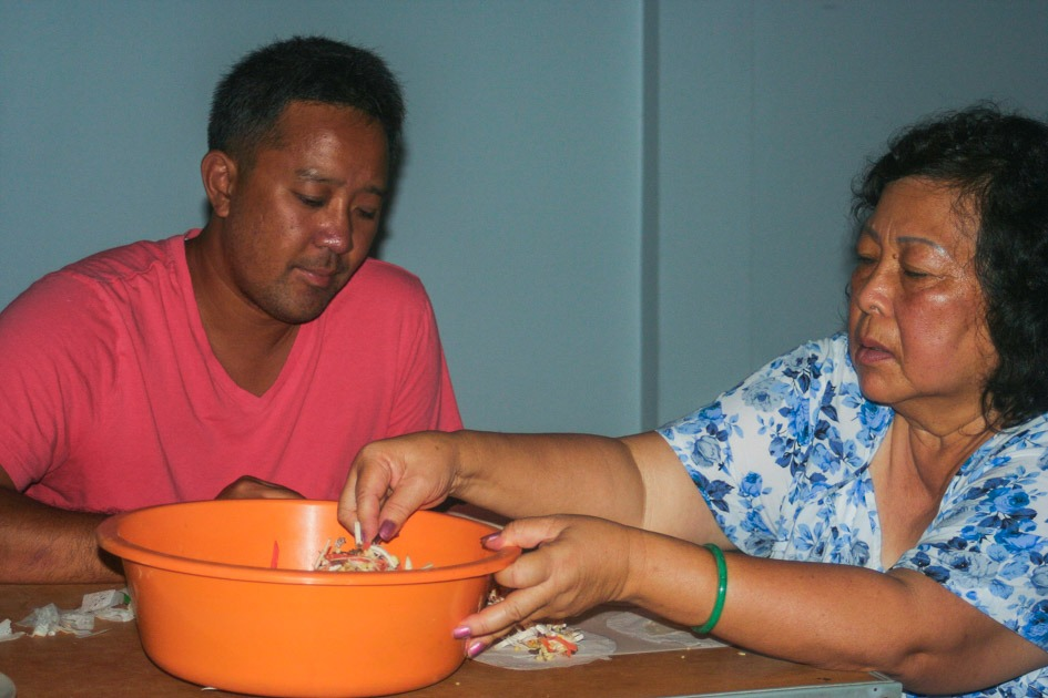 me and mom cooking in vietnam